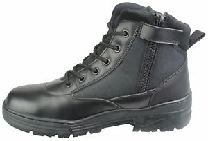 db863758c3c Details about Black Leather Army Patrol Combat Mid Boots SIDE ZIP Cadet  Security Military 915