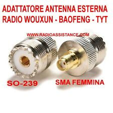 ADATTATORE RF DA FEMMINA SMA A FEMMINA UHF ( SO-239 ) PER WOUXUN - BAOFENG -TYT