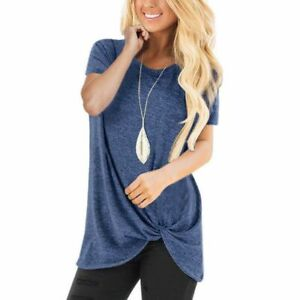 Fashion-Solid-O-Neck-Loose-Jumper-Pullover-New-Top-Short-Sleeve-Casual-Womens