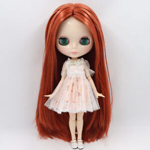 """12/"""" Neo Blythe Doll From Factory Jointed Body Copper Red Mix Color Straight Hair"""