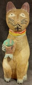 "Vintage Wood Siamese Cat Sculpture Hand Carved Folk Art Mid Century 14"" Tall Cat"
