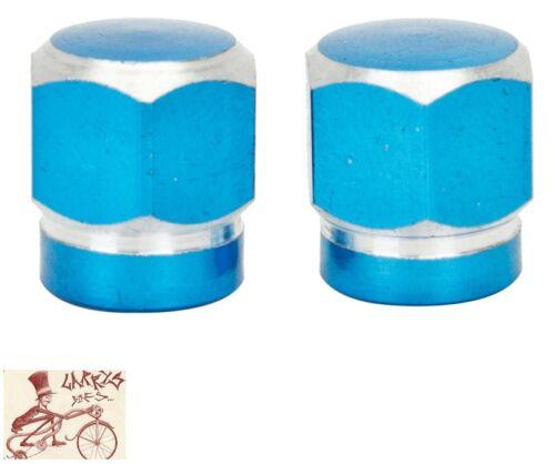 TRICK TOPS HEX 2-TONE BLUE CAR BIKE BICYCLE VALVE CAPS--1 PAIR