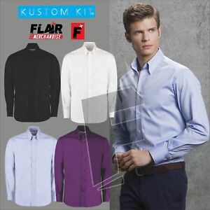 Kustom-Kit-Men-039-s-Long-Sleeve-Tailored-Fit-Premium-Oxford-Shirt