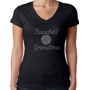 d9793a32b Womens T-Shirt Rhinestone Bling Black Fitted Tee Baseball Grandma ...