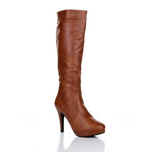 Donna-Oltre-Ginocchio-Coscia-Tacco-Alto-Scarpe-Stivali-in-pelle-stretch-TG-UK
