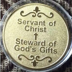 Religion, Serviteur du Christ, Steward of God's Gifts, G-Plaqué Fantaisie médaillon. BU