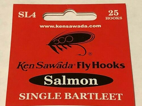 5 Sizes Available 25 Ken Sawada SL4 Single Bartleet Salmon Hooks Fly Tying