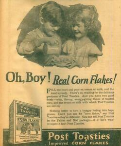 Advertising-Newspaper-Post-Toasties-Improved-Corn-Flakes-OH-BOY-1923