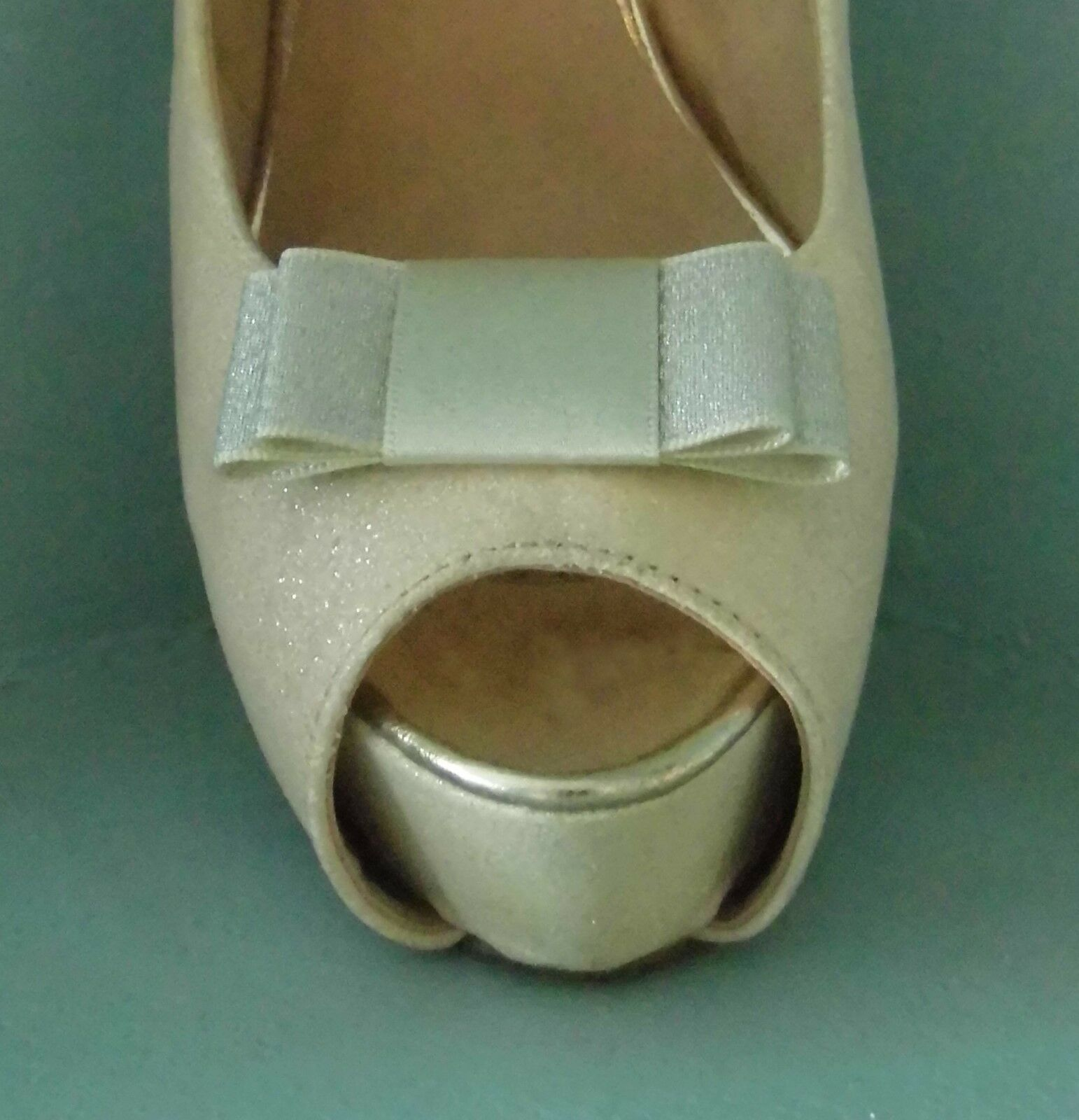 2 Handmade Small Silver / Champagne Double Sided Satin Glitter Bow Shoe Clips