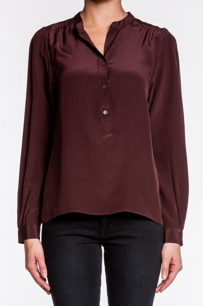 MiH Jeans Henley Hemd Raisin Silk SH1416RK rot Maroon Silkcrepe Lange sleeves