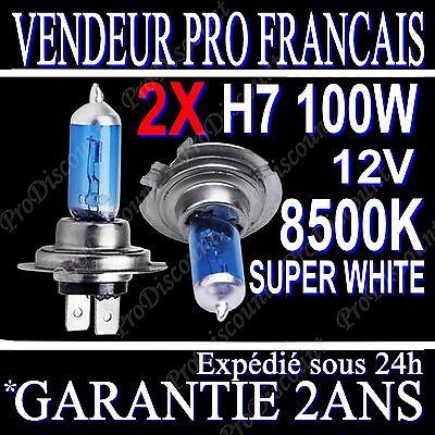 KIT DE 2 AMPOULES LAMPES HALOGENE PHARE XENON GAZ SUPER WHITE H7 100W 8500K 12V