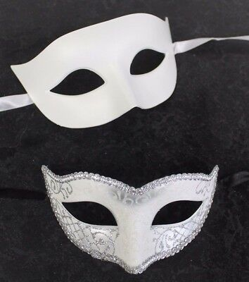 HIS N HERS PAIR COUPLES WHITE SILVER BLACK VENETIAN MASQUERADE PARTY  EYE MASKS