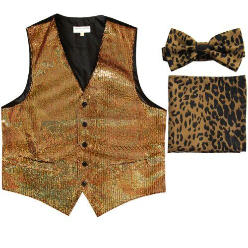 Men/'s SEQUIN GOLD Tuxedo VEST Waistcoat /& BROWN LEOPARD BOW TIE and HANKIE set