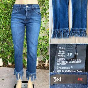 3x1-Womens-Straight-Crop-Fringe-Jean-in-Lima-Size-28-w-4-034-Frayed-Hem