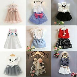 5eace663e Toddler Kids Baby Girls Outfits Clothes T-shirt Tops+Pants Shorts ...