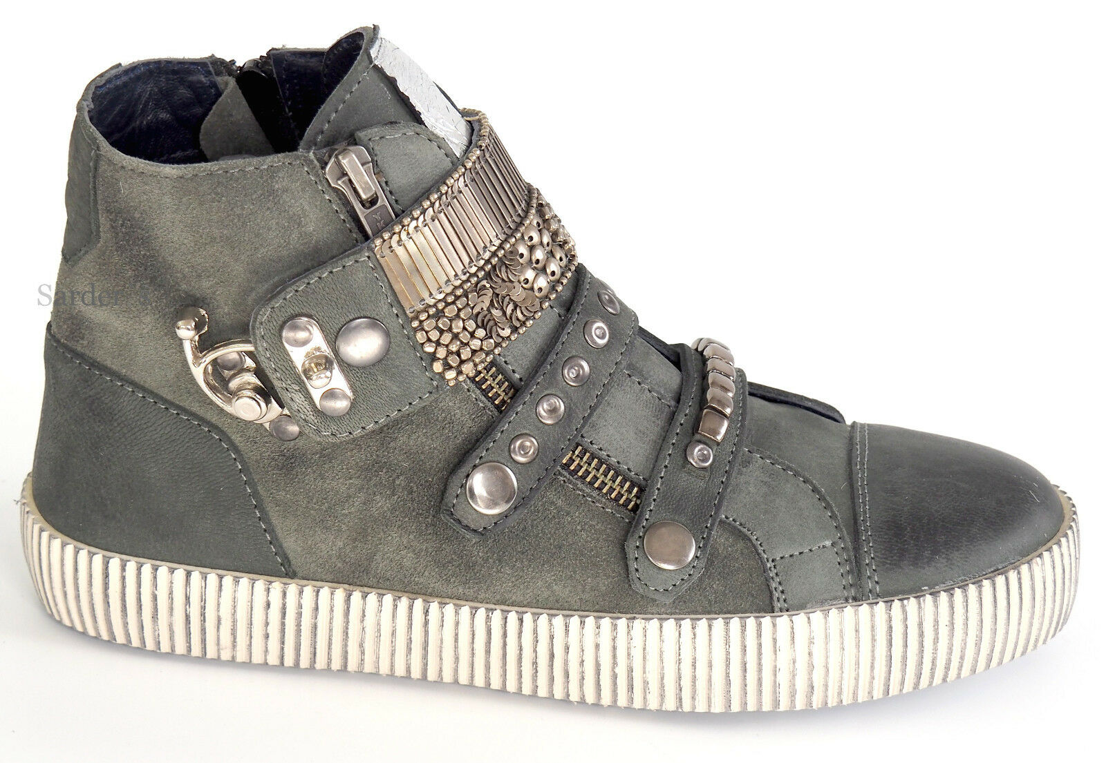 XYXYX Sneaker 37 Nubuk Used Velours LEDER Grau Silber Used Nubuk Stiefel Stiefelette Sexy NEU f77ded