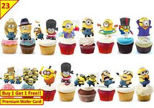 24 PERSONALISED MINIONS DISPICABLE ME EDIBLE CUP CAKE TOPPERS