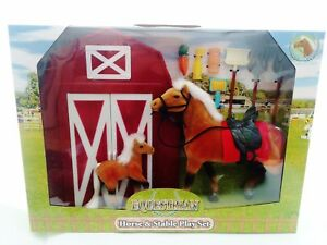 Equestrian-Palomino-Horse-amp-Foal-Stable-Playset-Flock-Pony-Club-Figures-New