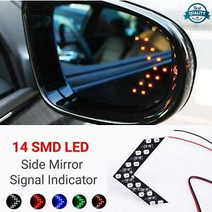 2 x Car SUV Rearview Mirror Arrow Turn Signal Indicator Yellow 14 LED Light Lamp