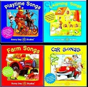 Kids-Songs-Sunny-Day-Studios-Farm-Car-Learning-Playtime-Lot-of-4-Music-Cds-New