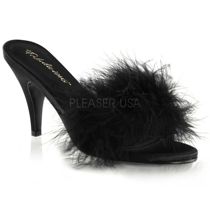 Fabulicious AMOUR - 03 Mules Satin Noir Ressort Danse Gogo Sexy Glamour