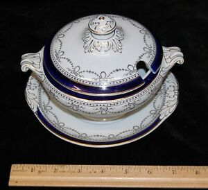 Vintage-White-Blue-w-Gold-Trim-Flaxman-Small-Soup-Tureen-Covered-Dish-amp-Saucer