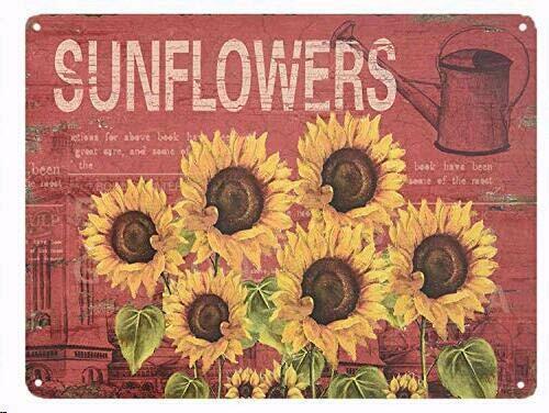 Six Sunflowers Retro Vintage Tin Bar Sign Country Farm Sunflower Wall Dec
