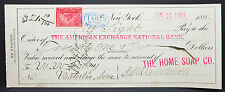 US Check The American Exchange National Bank New York Home Soap Stamp (H-6787+