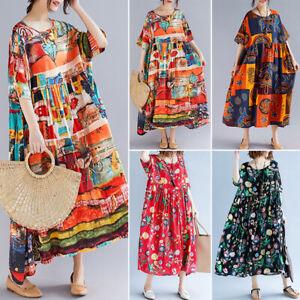 Women Sleeveless Plus Size Ethnic Maxi Dress Casual Loose Holiday Beach Sundress