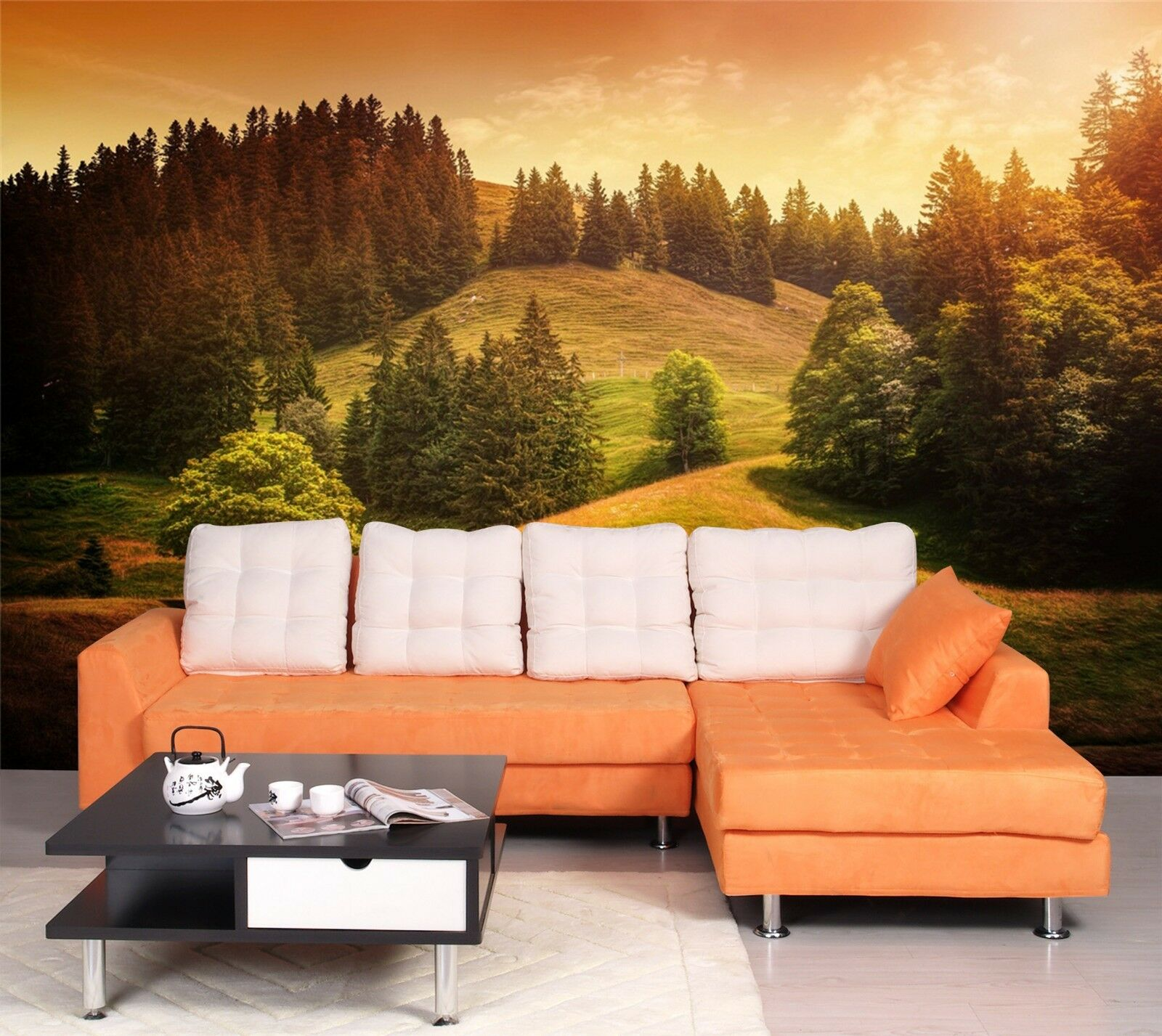 3D Sunset Grassland forest 71 Wall Paper Print Decal Wall Deco Indoor wall Mural