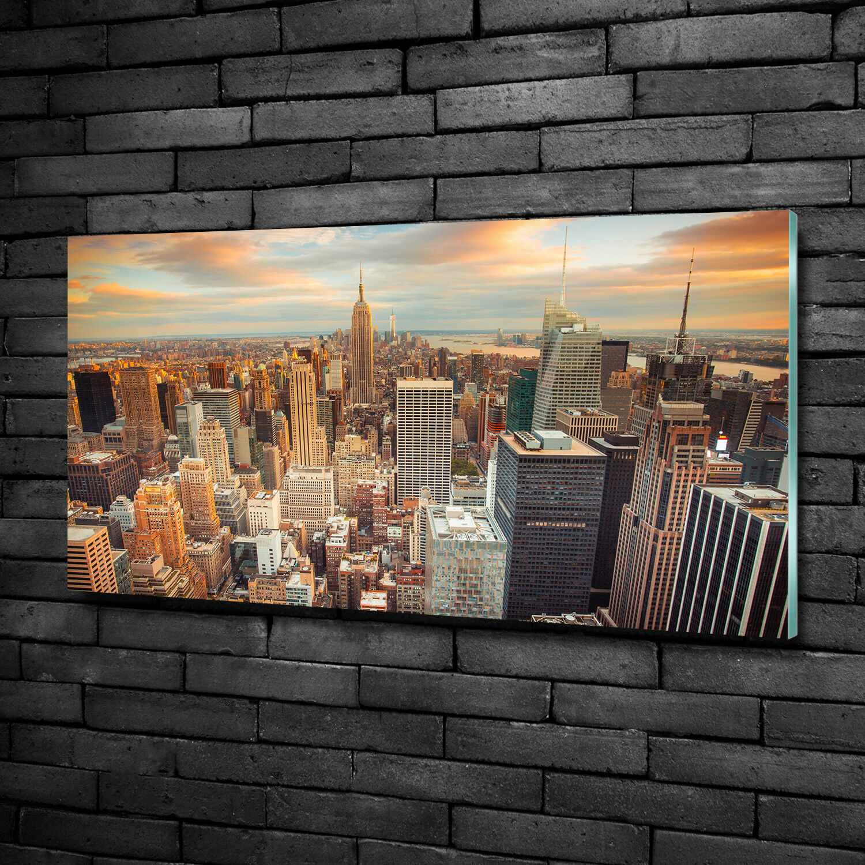 Glas-Bild Wandbilder Druck auf Glas 100x50 Deko Landschaften New York