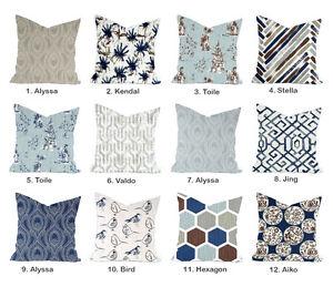 High End Blue Pillow Cover Toile Floral Bird Navy Grey Tan Decor