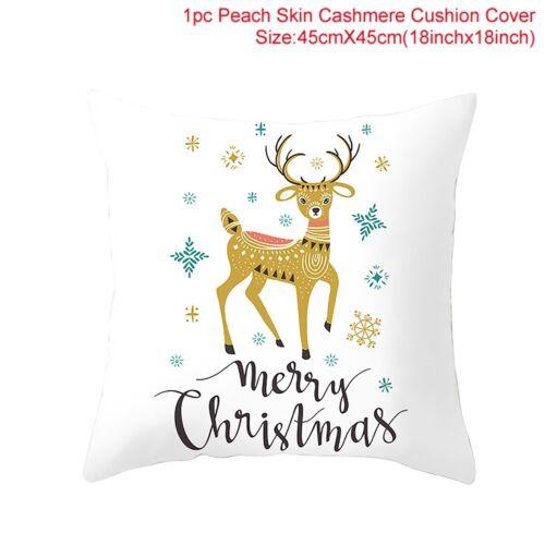 Christmas Cushion Cover Pillow Case Elk Santa Snowman Cartoon Home Xmas Decor