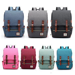 Men-Canvas-Backpack-Laptop-Travel-Rucksack-Satchel-Women-Shoulder-Bag-Fashion