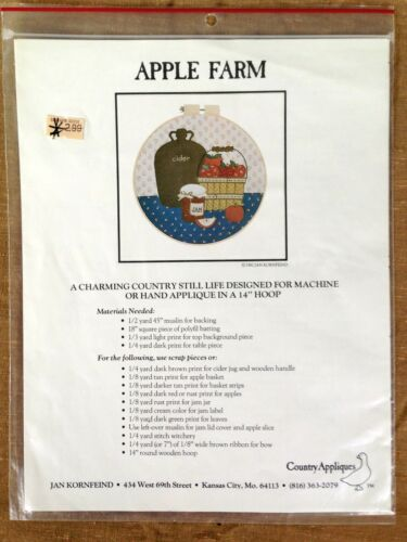 Apple Farm Jan KornFeind 1982 Country Appliques Needlepoint Pattern