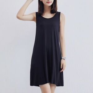 Lady-Sleeveless-Vest-A-line-Dress-Loose-Long-Skirt-3-Colors-Summer-Casual-Cotton