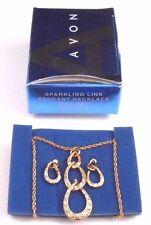LOVELY AVON SPARKLING LINK PENDANT NECKLACE GIFT SET IN GOLDTONE NOS 2009