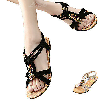 Womens Ladies Gladiator Low Wedge Sandal Fancy Beaded Strappy Summer Beach Shoes