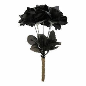 Black Roses Bouquet Fancy Dress Halloween Gothic Corpse Bride Costume Flowers
