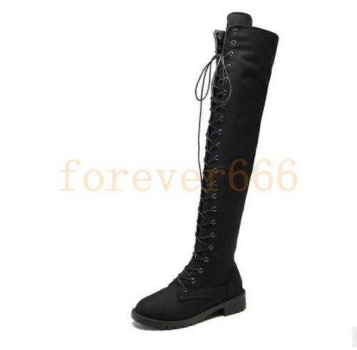 Kniehohe Stiefel Damenschuhe Schnürsenkel Flach Outdoor Stiefel Gr.34-41 Trend