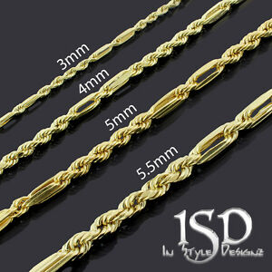 14k Yellow Gold Mens Womens Hollow Milano Figaro Rope Diamond Cut Chain Necklace Ebay