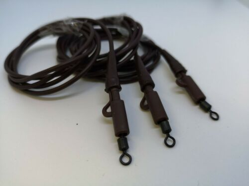 3 x Leadcore FREE Rig Tubing Leader Kits BRW//GRN 3 Pack Swivels//Lead Clips//cones