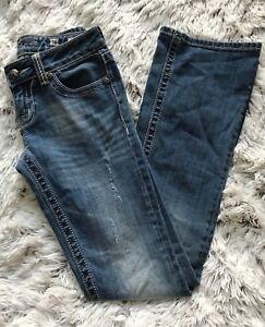 Women-039-s-Miss-Me-JD1037B-Boot-Cut-Medium-Wash-Lightly-Distressed-Jeans-Size-26