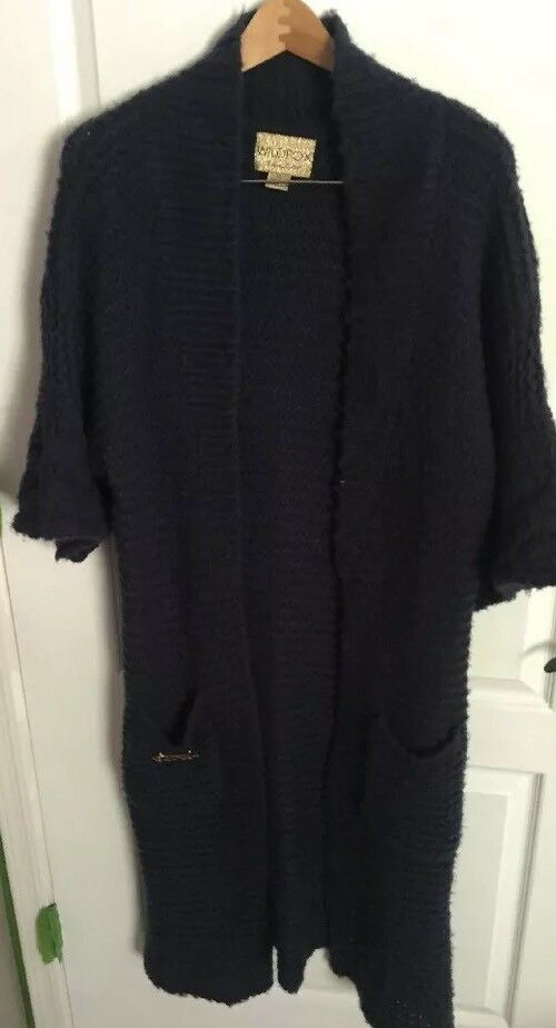 Wildfox Cozy Cardigan, Open Front Front Front Knit Cardigan- Navy- Small f92e64