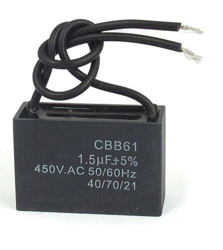 CBB61 TERMINALE CEILING FAN MOTOR 450 V 1.5uf in esecuzione Rettangolo Condensatore