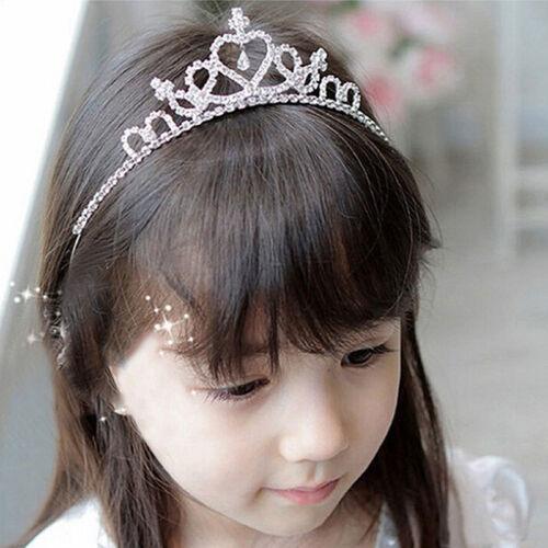 Kids Girls Rhinestone Crown Crystal Princess Hair Band Prom Gifts
