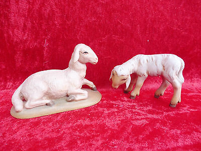 2 Beautiful Wooden Figures_nativity Figurines__2 Sheep __ Tyrol __ Carved And