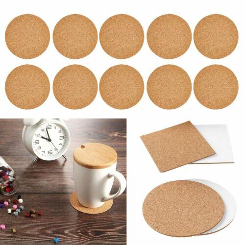50//80Pcs 4x4inch Self-Adhesive Cork Squares Round Backing Sheets Tiles Coasters