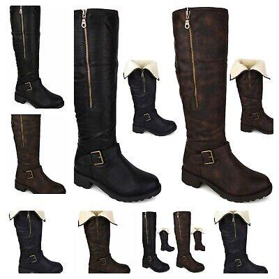 Ladies Knee High Fur Lined Low Heel