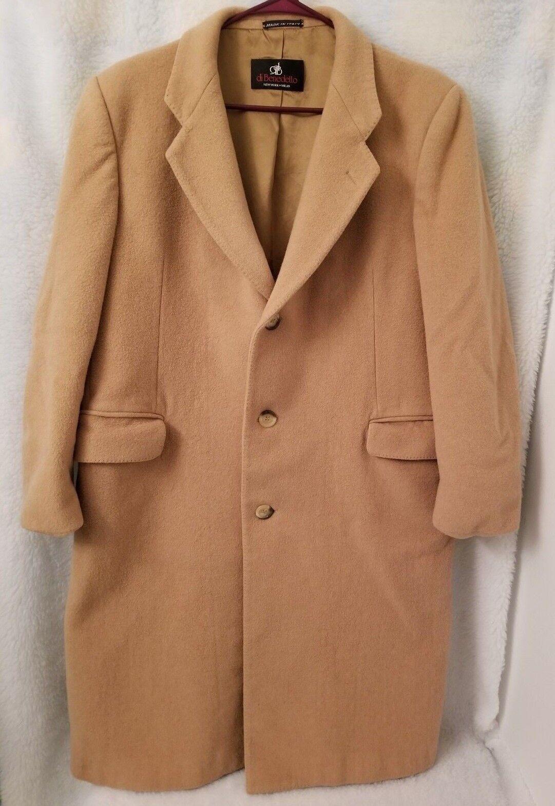 VTG Di Benedetto  Herren Light Braun Cashmere Wool Blend Button Down Coat Größe 42 R